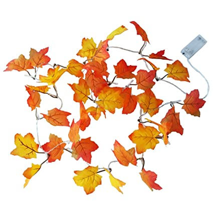 topspeeder maple leaves led garland lighted for thanksgiving christmas festival decorations fall garland string lights 82