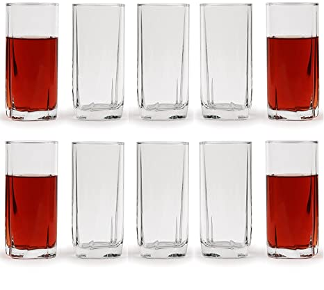 Circleware 44527 Highland Heavy Base Highball Drinking Glasses, Huge Set of  10 Kitchen Entertainment Ice Tea Beverage Cups Glassware for Water, Juice,  ...