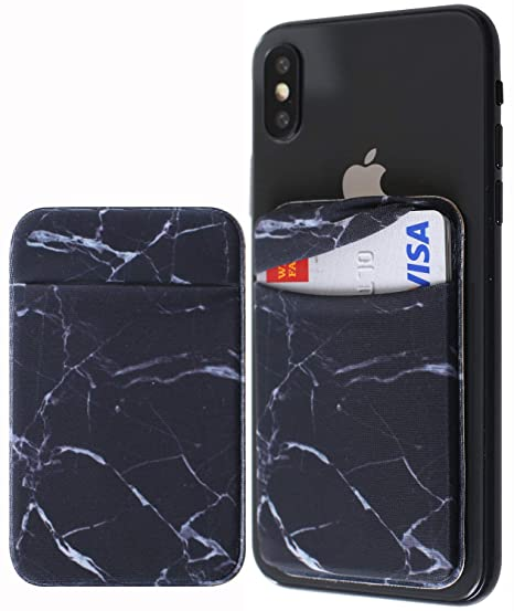 a5b705565cd0 [Double Secure] Lid Credit Card Holder Stick on Wallet Discreet ID Holder  Lycra Spandex Card Sleeves for Smartphones, iPhone Galaxy Cell Phone Wallet  ...