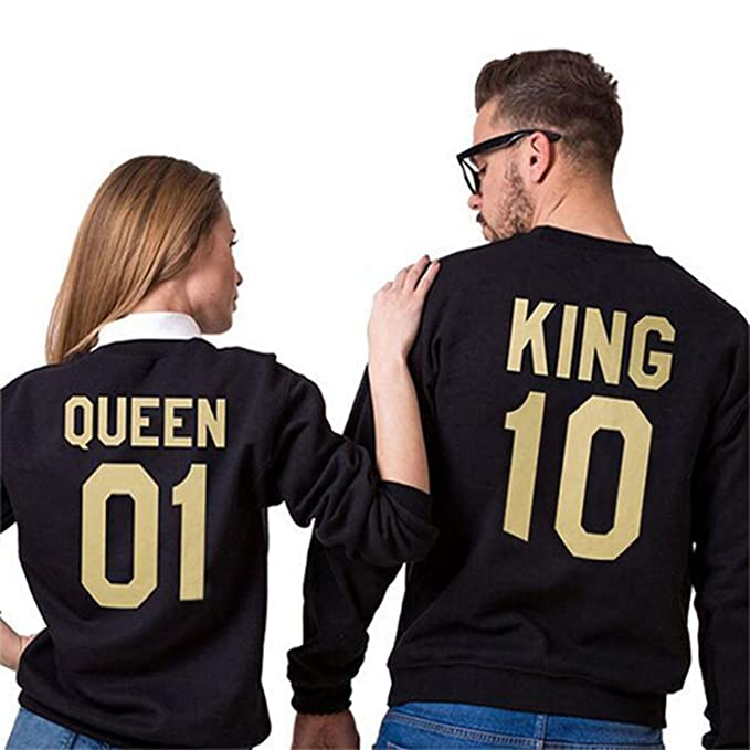 Teamyy Sudaderas para Parejas King and Queen El Rey y La Reina Camiseta Top: Amazon.es: Ropa y accesorios