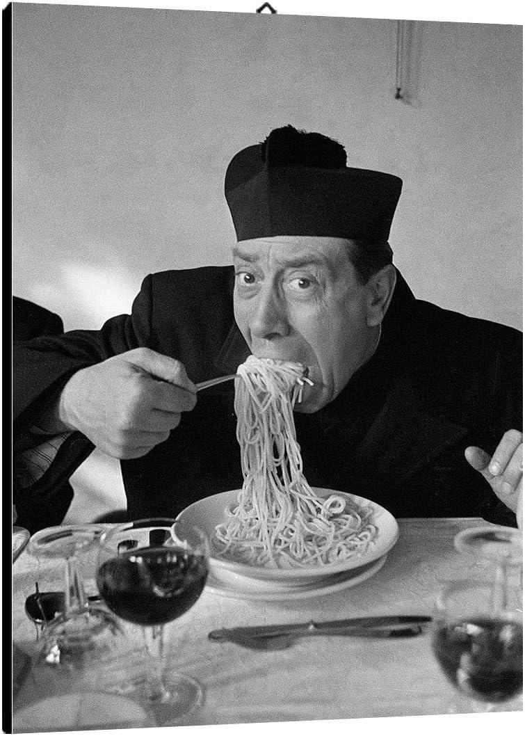 Don Camillo Spaghetti Wein Poster Leinwand-Druck #54505 Kochkunst 120x80cm