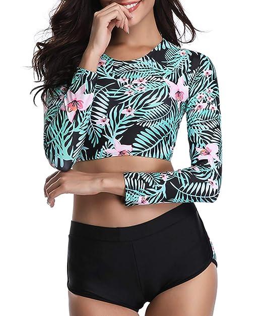 09b80968b8de8 Amazon.com: Century Star Two Piece Swimsuit Halter Back Push Up Bikini Set  Boyshort Bathing Suits for Women: Clothing