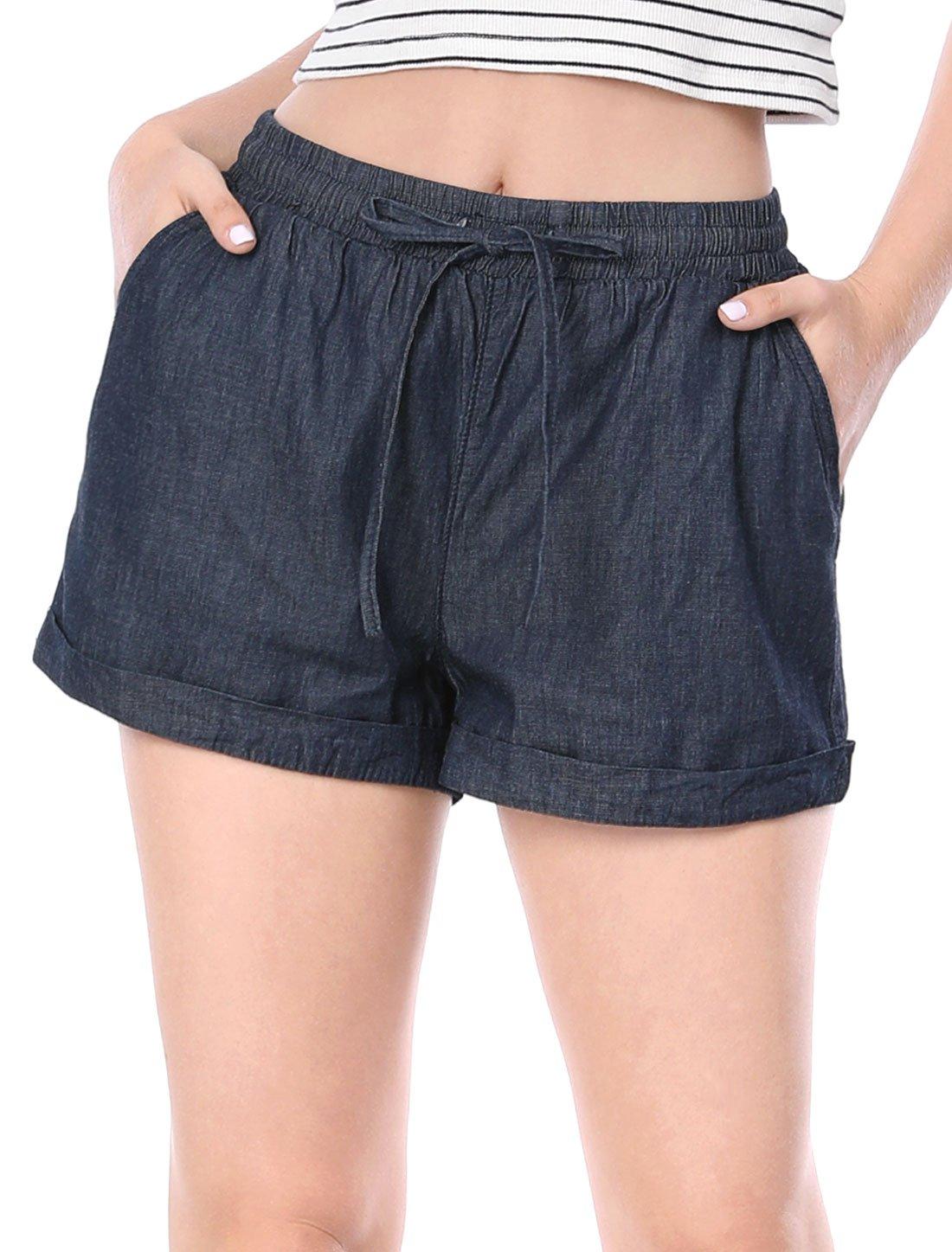 Allegra K Women's Elastic Drawstring Waist Rolled Cuffs Denim Shorts L Dark Blue