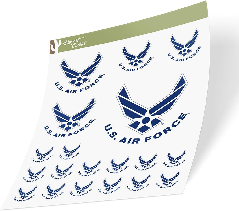 US Air Force USAF United States Air Force Emblem Logo Sticker Vinyl Decal Laptop Water Bottle Car Scrapbook Licensed (Sheet - T3 Logo 3)