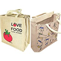LR Traders Combo of Yoga Print and Love Food Hate Waste Jute Bag with Zip Closer for Office Womens | Mens | Girls & Boys | Tote Lunch Bag | Multipurpose Bag | (Size – 14.5 X 12 X 5 Inch)