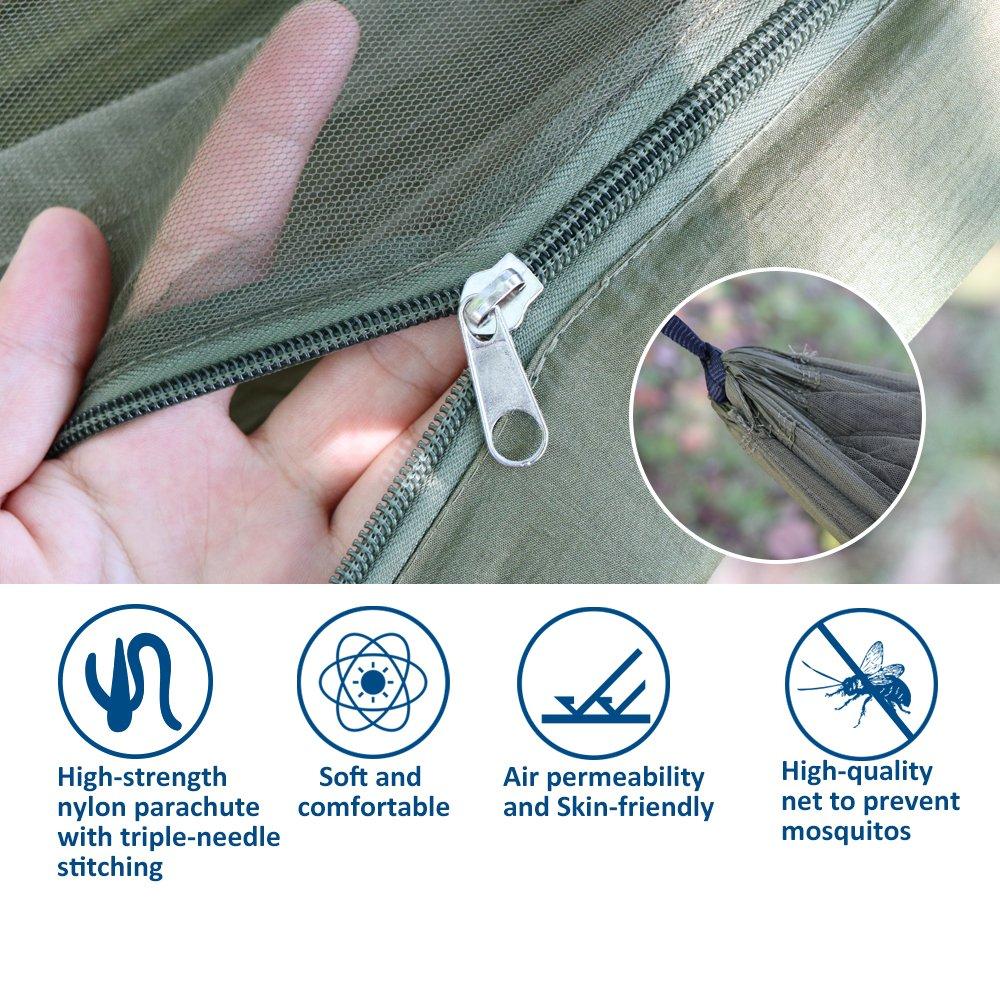 Anyoo Camping Hängematte mit Schnakennetz Nylon Fallschirmstoff ...