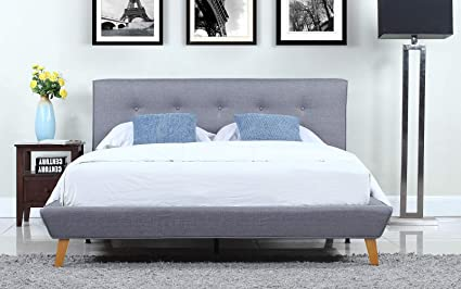 Exceptionnel Divano Roma Furniture Mid Century Grey Linen Low Profile Platform Bed Frame  With Tufted Headboard