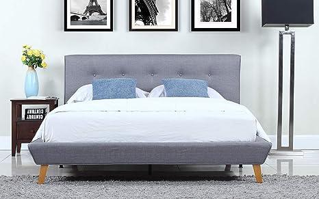 Astounding Divano Roma Furniture Mid Century Grey Linen Low Profile Platform Bed Frame With Tufted Headboard Design Full Machost Co Dining Chair Design Ideas Machostcouk