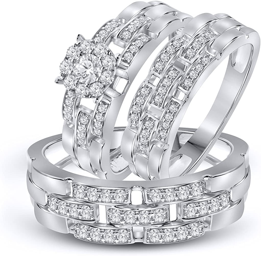 925 Silver Simulated Lab Diamond Bridal//Engagement Ring Trio Set In White Finish