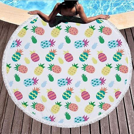 YAN Toalla de Playa Redonda con borlas Toalla de Playa Mejor Mandala Manta de Playa Redonda