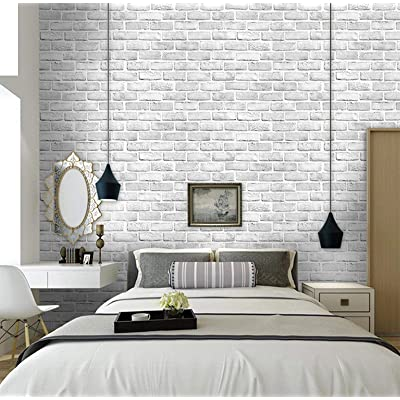 Buy White Grey Brick Wallpaper Stick And Peel Wall Paper 3d Faux Brick Textured Pattern Removable Self Adhesive Vinyl Contact Paper For Christmas Furniture Bedroom Fireplace Decoration 17 71in 78 7in Online In Indonesia B07mtgtns9