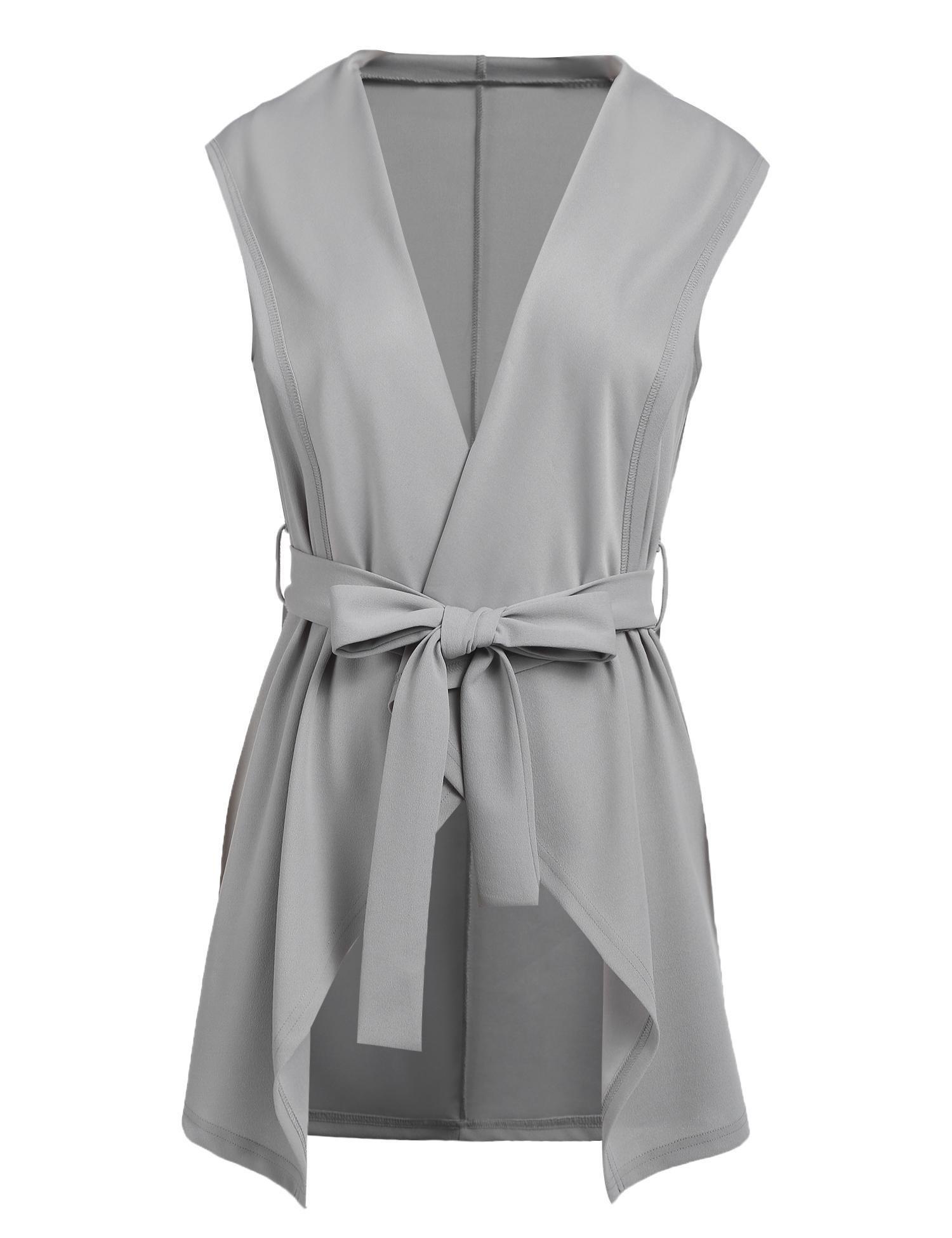 Grabsa Women's Casual Lapel Open Front Sleeveless Vest Cardigan Jacket with Belt