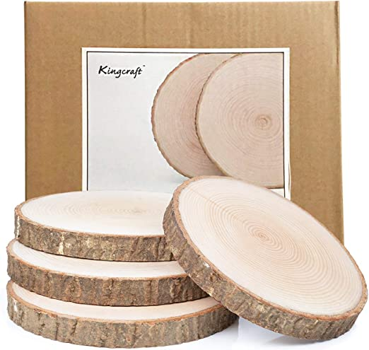 Amazon.com: Paquete de 4 grandes pizarras de madera natural ...