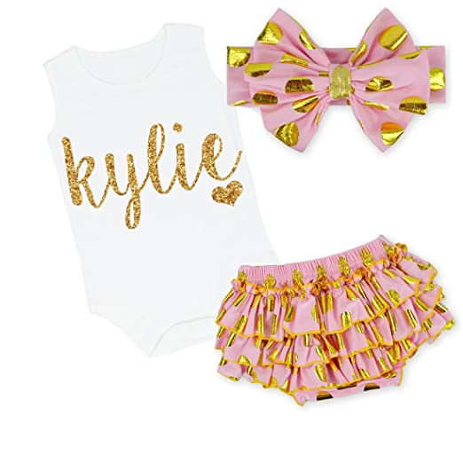 9b7bae3222a G G - Cute Personalized Baby Girl 3pc Clothing Set Outfit Pink and Gold (0-