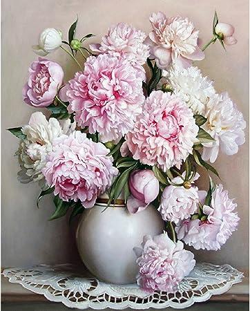 Jagenie Rose Pivoine DIY Peinture par numé