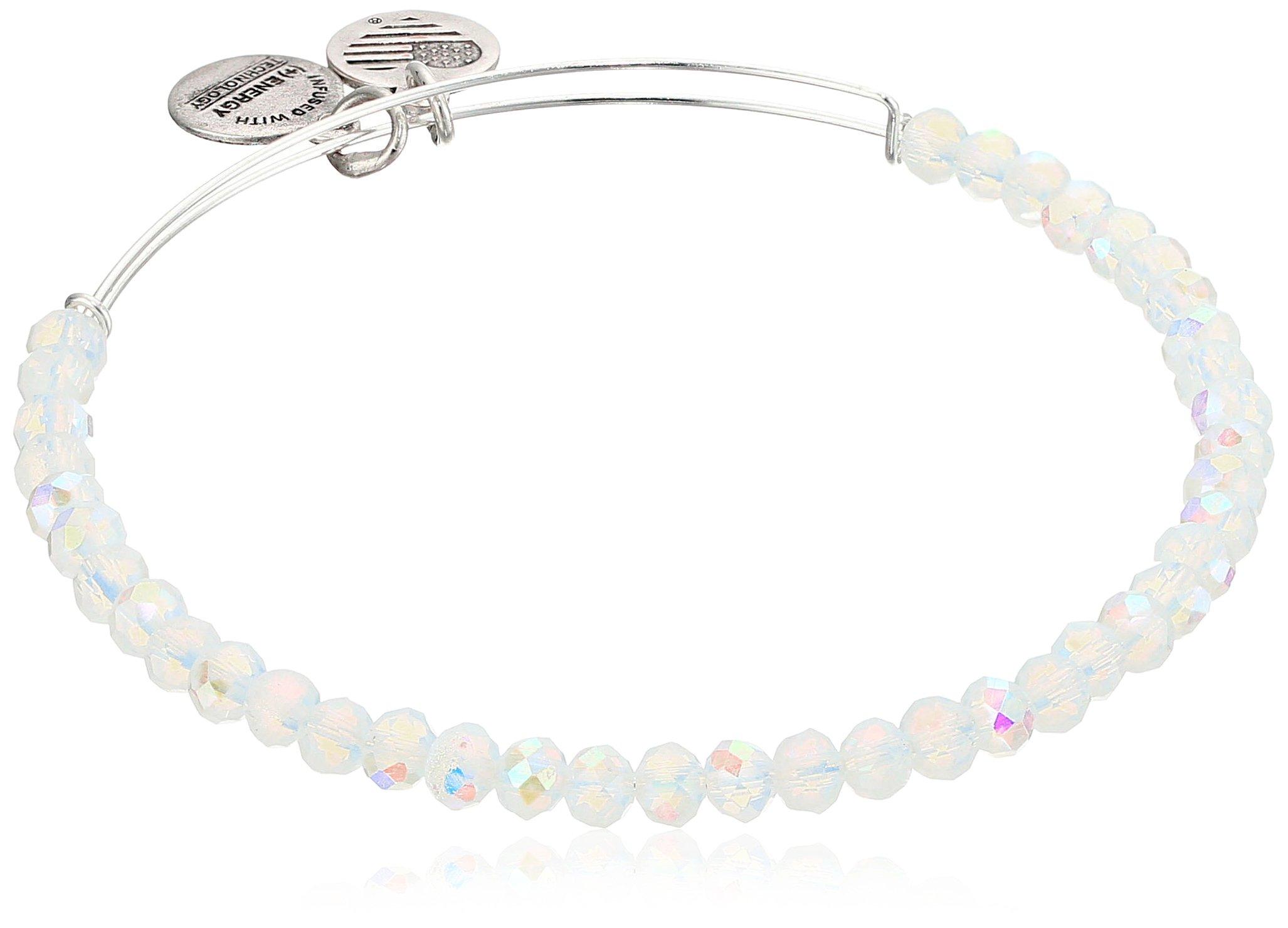 Alex and Ani Brilliance Bead Moonlight White/Shinny Silver Bracelet
