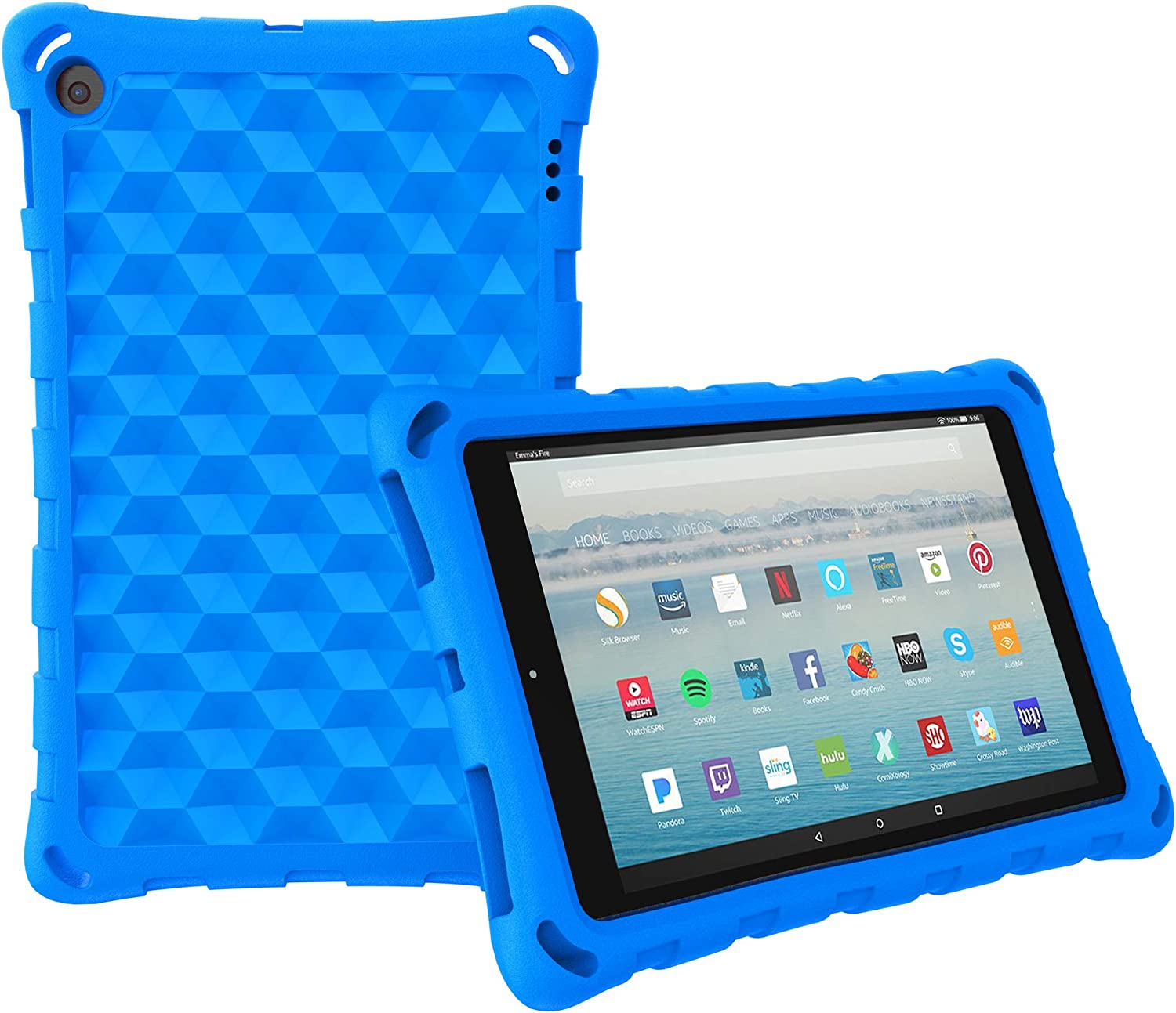 """All-New Amazon Fire HD 10 Tablet Case (2019 2017 2015 Released)-Mr.Spades [Adult Friendly] [Kids Friendly] [Four Corner Protection] Light Weight Shock Proof Back Cover for Fire HD 10.1"""" Tablets, Blue"""