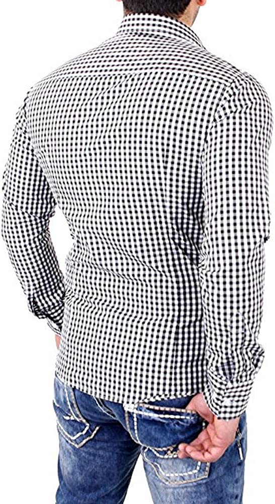 Ximandi Mens Plaid Shirts Long Sleeve Slim Fit Business Dress Shirt
