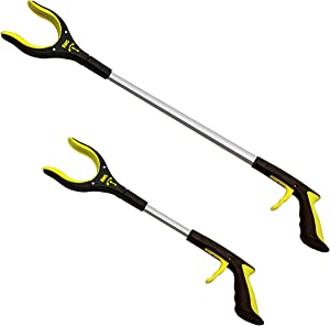 2-Pack 32 Inch and 19 Inch Grabber Reacher with Rotating Jaw - Mobility Aid Reaching Assist Tool