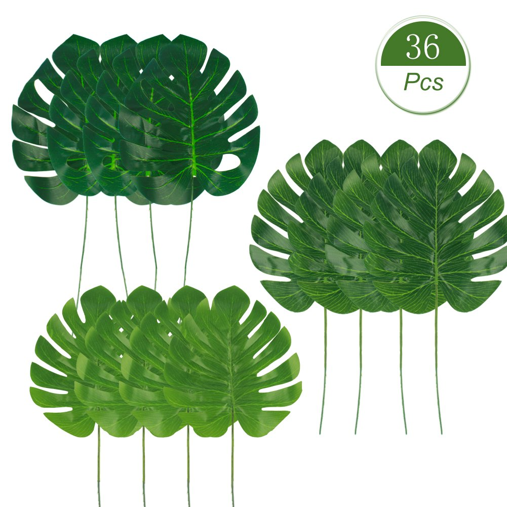 Dragang Palm Leaves Artificial Tropical Leaves Decorations,Palm Leaf for Party Decorations,Jungle Party Decorations,3 Different Sizes, 12pcs Each