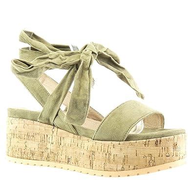 d659f8641f2acf Angkorly - damen Schuhe Sandalen Mule - Plateauschuhe - String Tanga -  Knoten - Kork Keilabsatz