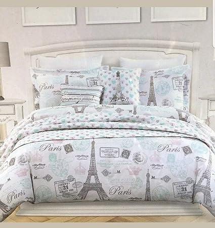 . Nicole Miller Full Queen Comforter Set Paris Eiffel Tower French Pink Grey  Parisian I Love Paris 3 Pc French Bedding