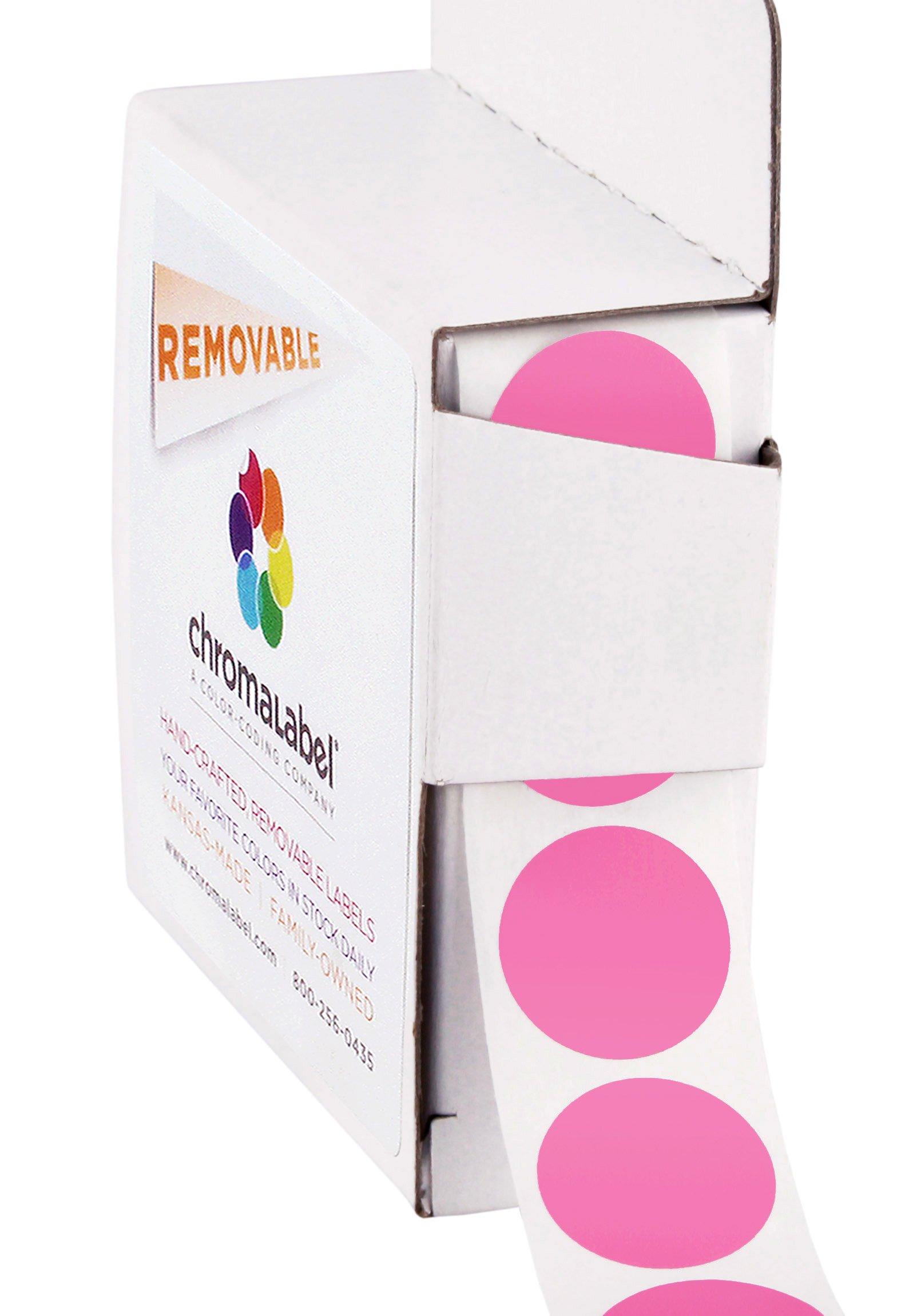 ChromaLabel 3/4 inch Removable Color-Code Dot Labels | 1,000/Dispenser Box (Rose)