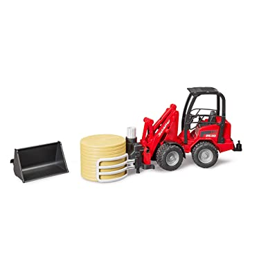 Bruder 02192 Schaffer Compact Loader 2630 Farm Tractor with Shovel, Bale Gripper and 1 Round Hay Bale: Toys & Games