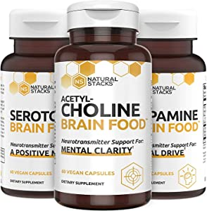 Natural Stacks Supplements - Brain Food Bundle - Dopamine (60ct), Serotonin (60ct), and Acetylcholine (60ct) - Increased Motivation and Alertness, Improved Mood and Relaxation, Cognitive Support