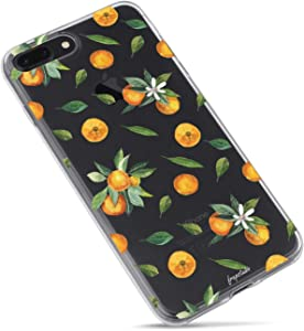 iPhone 8/iPhone 7/iPhone SE(2020) Case,Orange Lemon Cute Funny Fruits Hipster Aloha Summer Tropical Hawaii Sweet Girls Tangerines with Leaves Daisy Soft Clear Case Compatible for iPhone 7/iPhone 8