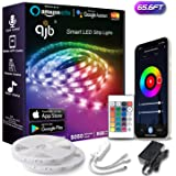 QJB 65.6ft Smart WiFi LED Strip Lights Compatible with Alexa, Google Assistant Brighter 5050 LED,16 Million Colors Phone App