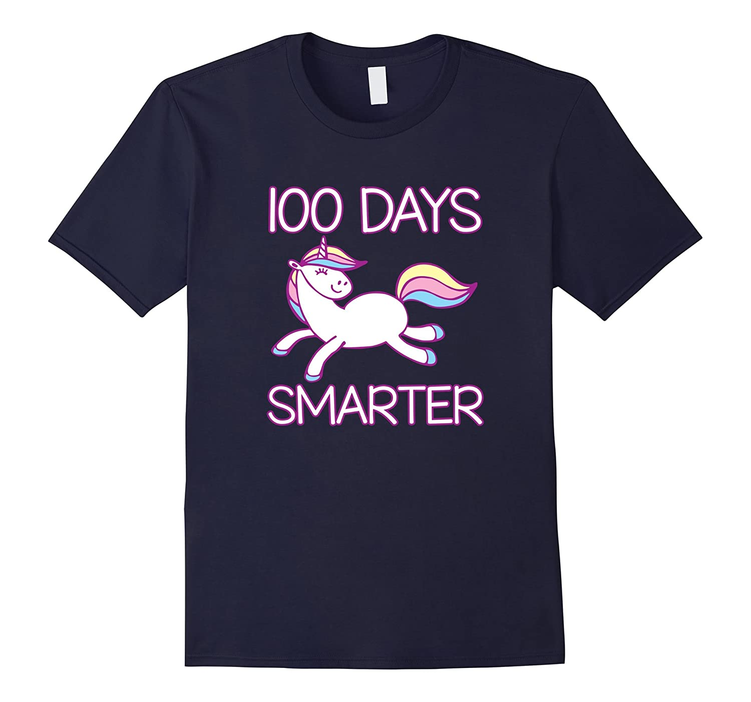 100 Days Smarter Unicorn - 100 Days of School T Shirts Girls-RT