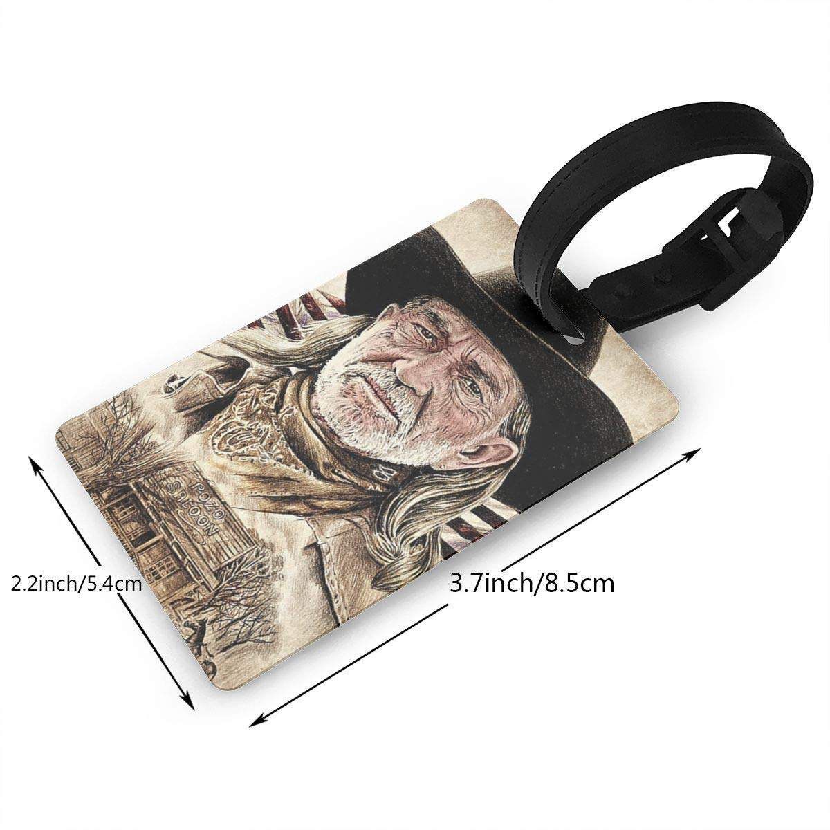 HushuangPm Classic Willie Nelson Tags Luggage Etag Holders PVC Luggage Tags 2.2x3.7inch