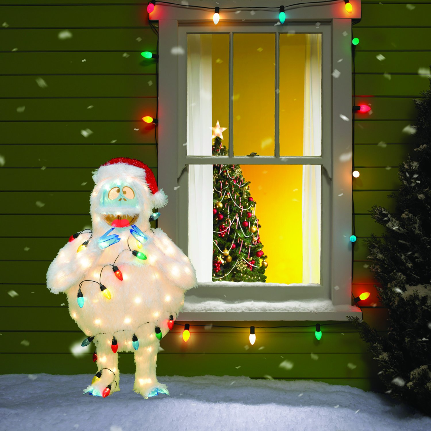 Amazon Product Works 32 Inch 3D Pre Lit Rudolph The Red Nosed Reindeer Bumble Christmas Yard Decoration 80 Lights Garden Outdoor