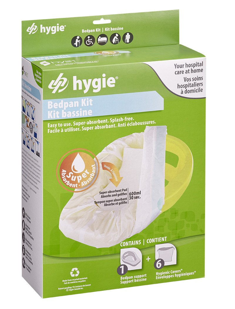 Hygie Bedpan Kit - 1 Bedpan Support and 6 Liners with Super Absorbent Pad