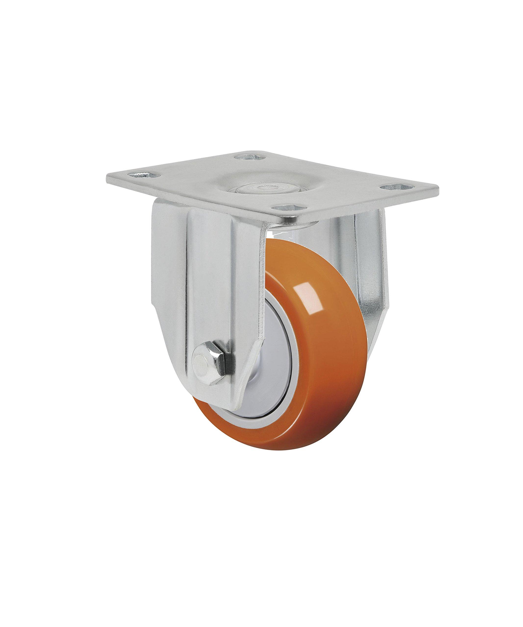 Schioppa L12 Series, FLA 312 UPE, 3 x 1-1/4'' Rigid Caster, Non-Marking Polyurethane Precision Ball Bearing Wheel, 175 lbs, Plate 3-3/4 x 2-1/2'' (Bolt Holes 3 x 1-3/4'')