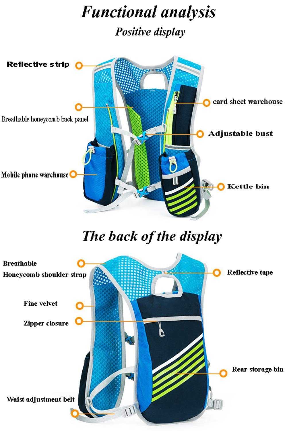 TZZ Sports Water Bag Backpack 5.5L 6 Pocket Running Hiking Backpack Trail Marathon Sports Racing Lightweight Hydrating Vest by TZZ (Image #5)