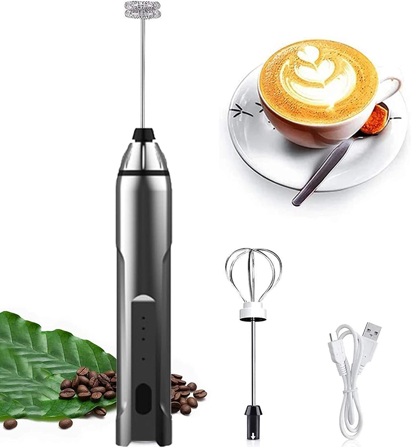 SNOMYRS USB Rechargeable Milk Frother 3 Speeds Mini Handheld Electric Blender Mixer with 2 Stainless Steel Whisks Portable Egg Beater Mixer Suitable For Coffee Cappuccino Hot Chocolate Latte Matcha (Silvery)