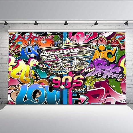 Mehofoto 7x5ft Vinilo 90s Fiesta Temática Decoración Telón de fondo Hip Hop 90s Telones de Fondo de Arte Abstracto para Fotógrafos Seamless ...