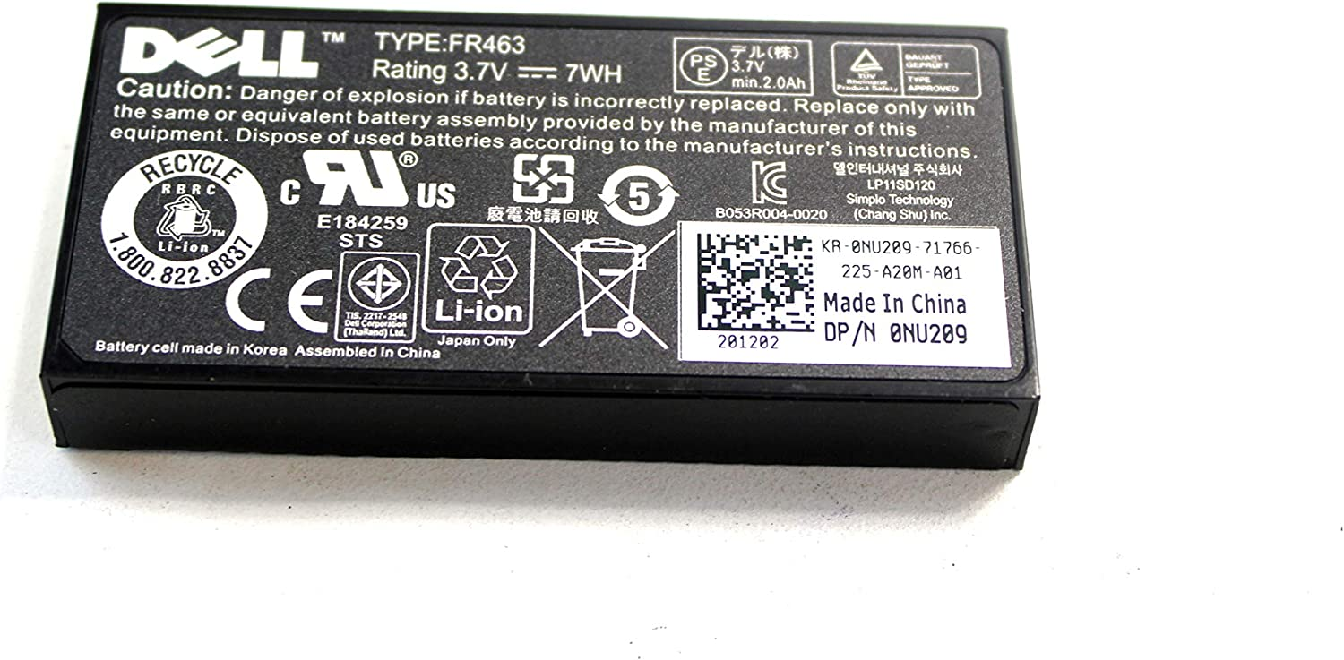 Dell New FR463 Battery for Poweredge Perc 5i 6i P9110 NU209 U8735 XJ547