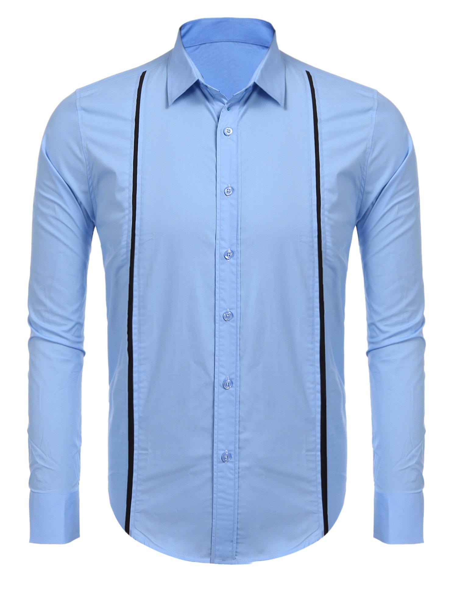 Simbama Mens Long Sleeves Contrast Stitching Button Down Guayabera Cuban Shirt