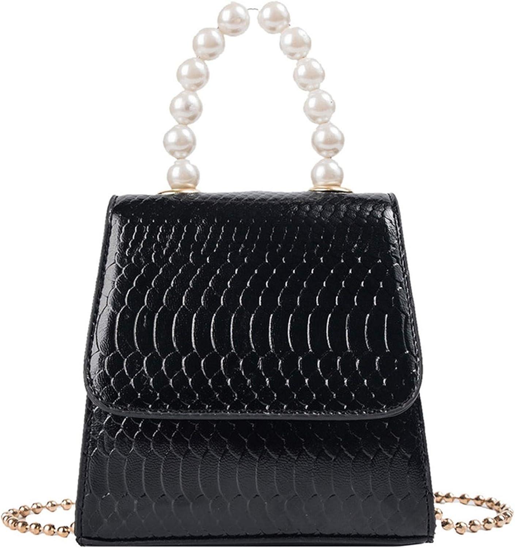 Pearl Tote bag 2019 Fashion New PU Leather Womens Designer Handbag Crocodile pattern Chain Shoulder Messenger bag