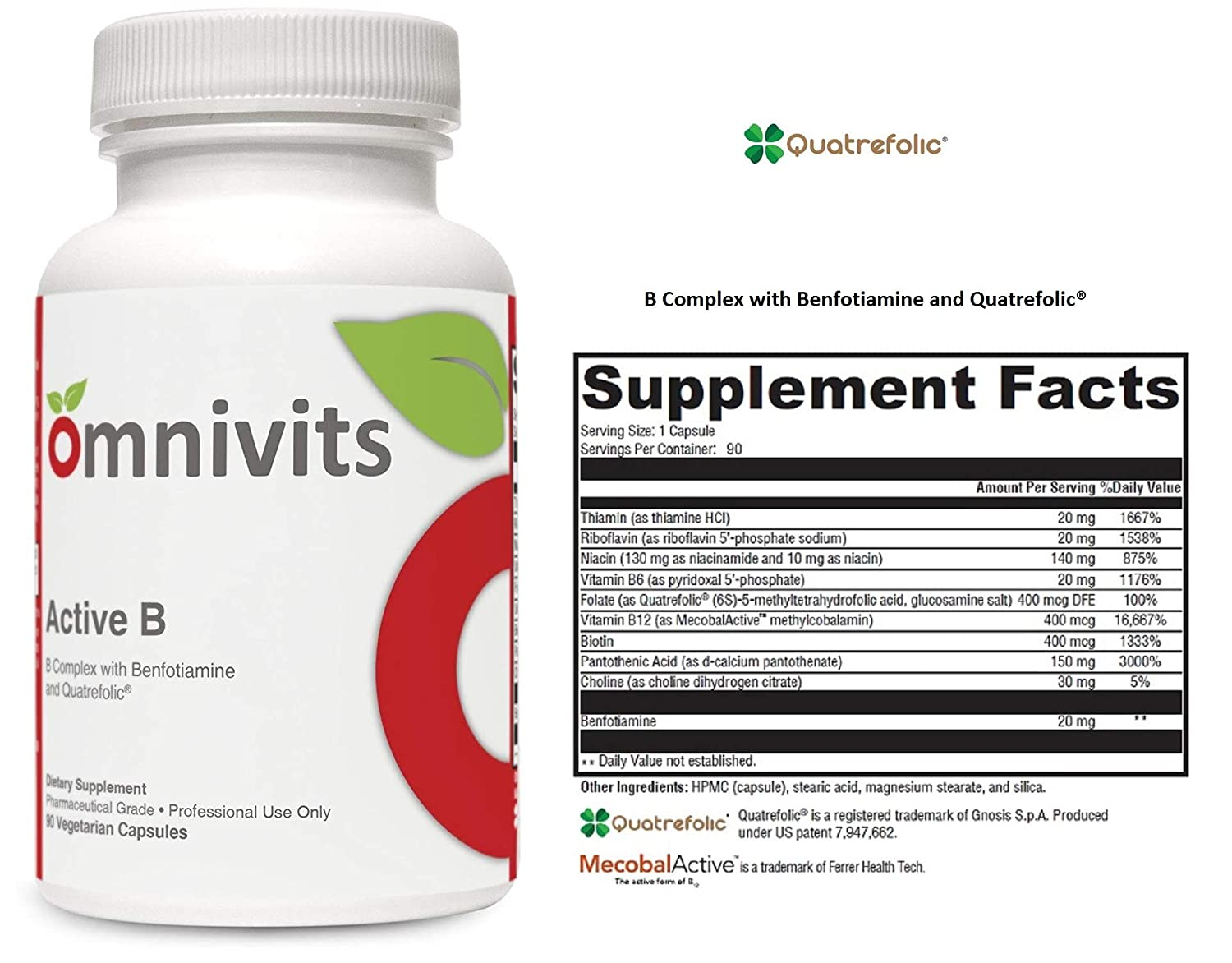 Active B | Vitamin B Complex with Benfotiamine & Folate (Quatrefolic) | Activated Forms Vitamins B2, B6 & B12 (Methylcobalamin) | Supports Cardiovascular, Adrenal, Stress-Related Functions | 90 VCaps