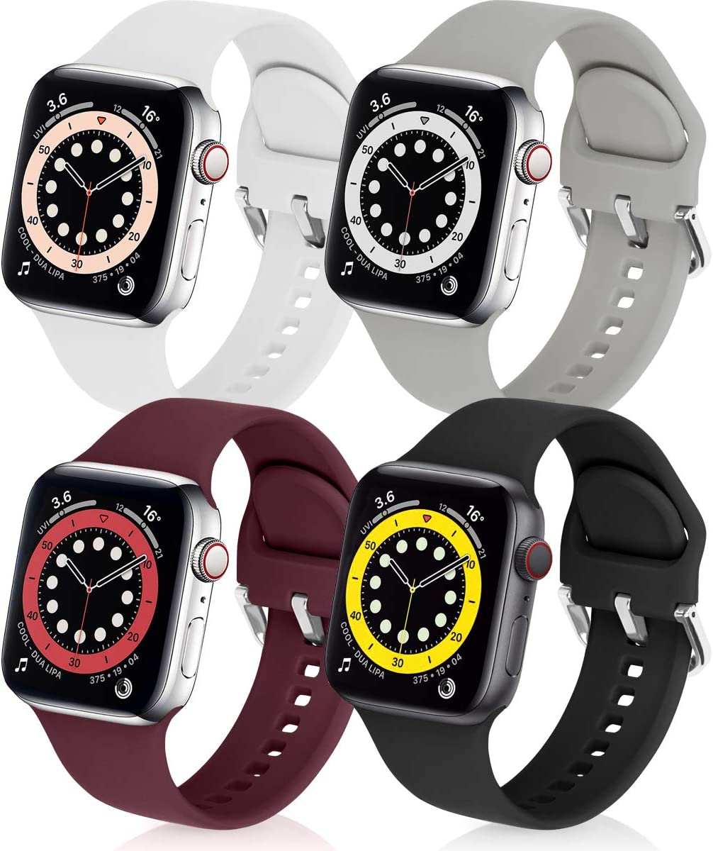 eCamframe Bands Compatible with Apple Watch Band 42mm 44mm, 4 Pack Soft Silicone Sport Replacement Wristband Compatible with iWatch Series 6 5 4 3 2 1 & SE (Black White Gary Wine 42mm 44mm)
