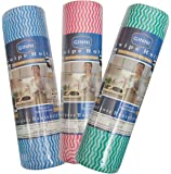 GINNI 6 Non Woven Fabric Roll Kitchen Swipe Rolls (50 Sheets Each, Red and Blue) - Pack of 3