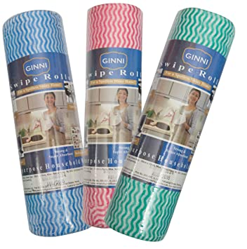 GINNI 6 Non Woven Fabric Roll Kitchen Swipe Rolls (50 Sheets Each)-Pack of 3