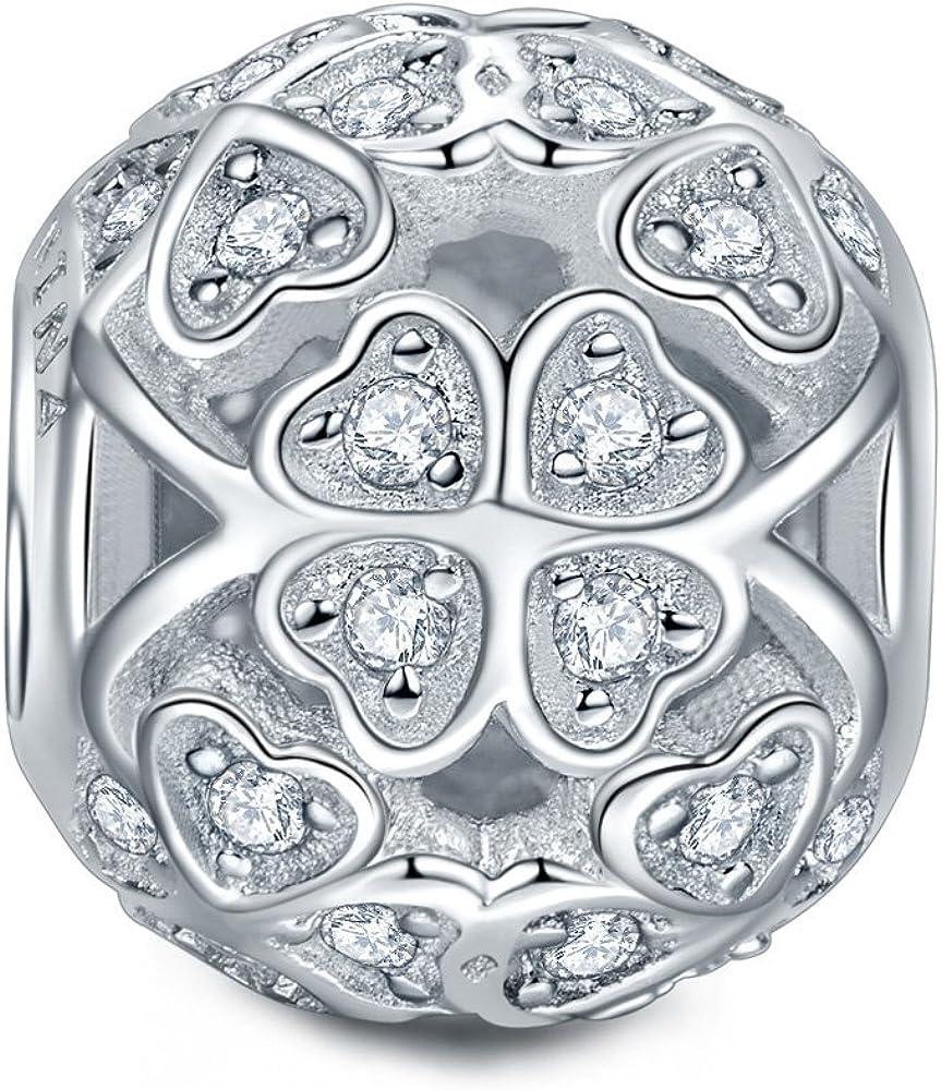 Zircone avec Boite Cadeau NINAQUEEN/® Charm//Amour et Chance//Argent 925 Choix pour No/ël!