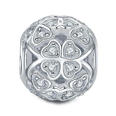e14a2d16b0bb NINAQUEEN Trébol Mujer Abalorio Día de la madre Charm Plata 925 Zirconia  cúbica Compatible Pulsera Pandora
