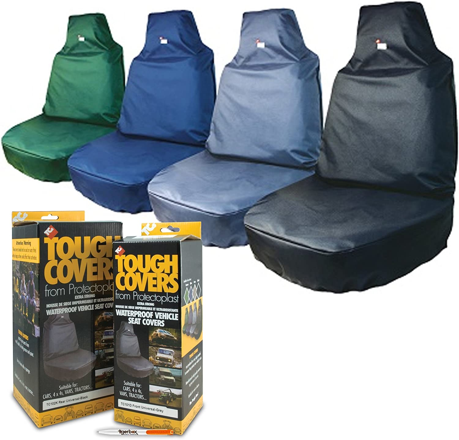 TigerBox TOUGH COVERS Heavy Duty Blue Extra Strong Waterproof Large Tractor Seat Cover for your Vehicle Antibacterial Pen.