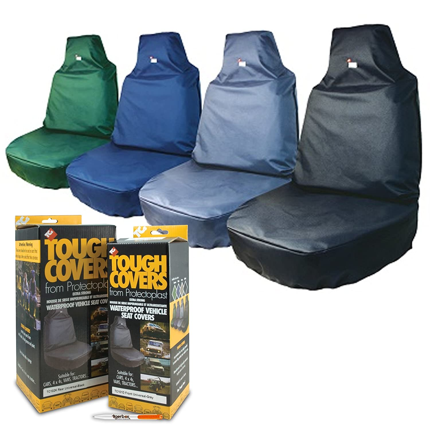 TOUGH COVERS Heavy Duty Black Extra Strong Waterproof Easy Fit Front Seat Cover for your Vehicle AND Tigerbox® Antibacterial Pen.
